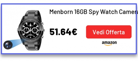 Menborn 16GB Spy Watch Camera HD 1080P Telecamera high-end per visione notturna a infrarossi