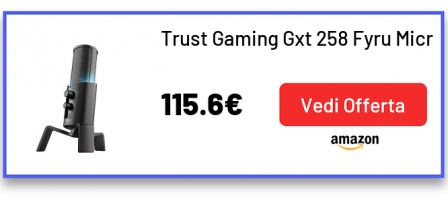 Trust Gaming Gxt 258 Fyru Microfono Streaming USB 4-In-1 per PC, PS4 e PS5, Nero