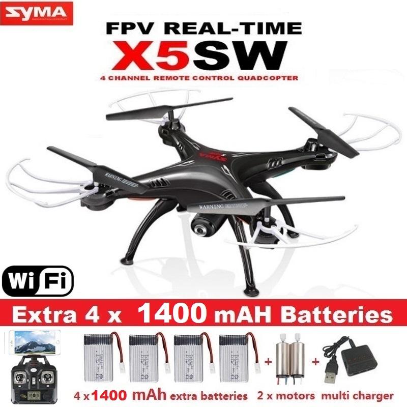 SYMA X5C Drone WiFi, Macchina Fotografica, Video In Tempo Reale - Con 5 Batterie