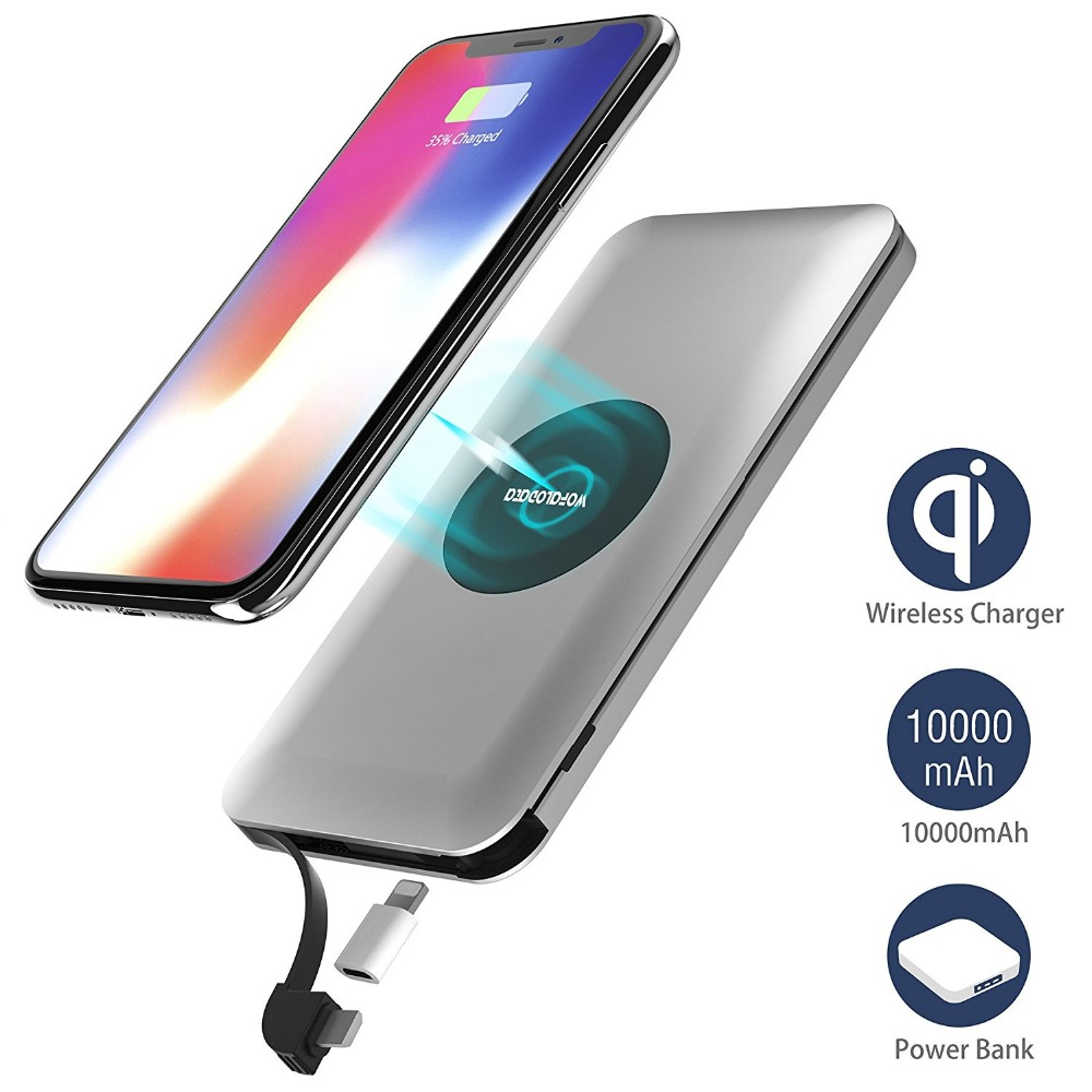 Wireless Charger Power Bank, Wofalo 10000mAh External Battery Support Qi Charging