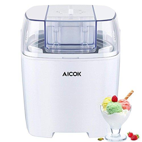 Aicok Gelatiera 1.5L, Macchina Per Gelati Basso Consumo Energetico Con Funzione Timer e Ricettario Frozen yogurt e Sorbetti Macchina , Colore Bianco