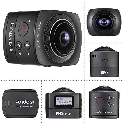 Andoer® Panorama 360 ° VR Wifi Full HD 1440P 1080P 30FPS 8MP IP Cam 220 ° Fisheye Obiettivo della Cupola del Giroscopio Realtà Virtuale Split System a Schermo Up-down Flip display