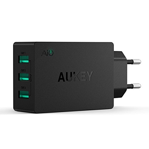 AUKEY Caricatore da Muro con 3 Porte 30W 6A Caricatore USB con AiPower per iPhone X / 8/8 Plus, iPad Air/Pro, Samsung, HTC, LG, Nexus, Tablet ecc.