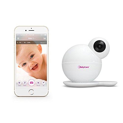 Baby Monitor video iBabyCare M6S Wi-Fi 1080P HD con rilevamento della qualità dell'aria, sensore di temperatura/umidità, visione notturna, avvisi di rilevamento di suoni/movimenti, audio bidirezionale, colore bianco