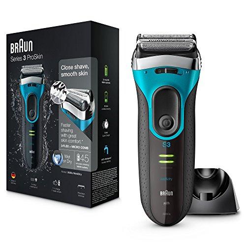 Braun Series 3 ProSkin 3080s Wet & Dry Rasoio Elettrico Ricaricabile con Base di Ricarica, Rasoio da Barba per Uomo, Premium Blu