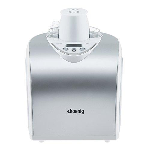 H.Koenig HF180 Macchina per Gelati e Sorbetti, 1L, Programmabile, Gelato pronto in 40min, Gruppo freddo integrato, Acciaio Inox, 135W