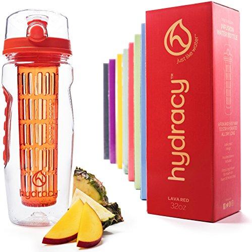 Hydracy Bottiglia con infusore per acqua aromatizzata alla frutta con esclusiva sacca isolante antitraspirante - 1Litro - Senza BPA - Perfetta per depurare l'organismo, per gli sport e per le attività all'aperto - Tango Rosso