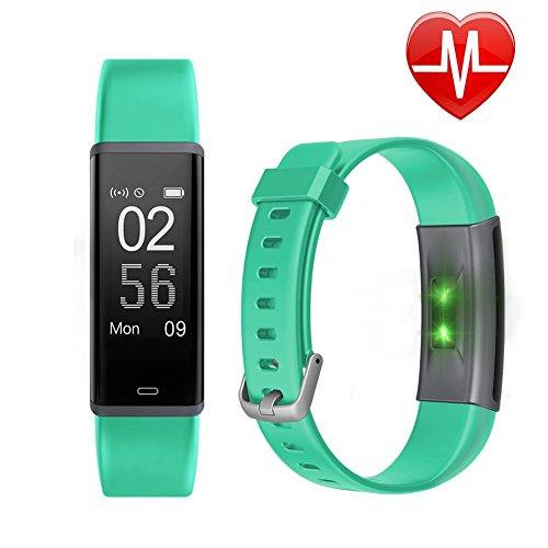 Letsfit, Fitness tracker HR, con cardiofrequenzimetro, impermeabile IP67,con contapassi, unisex, Green