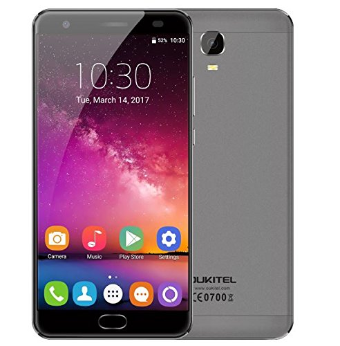 Oukitel K6000with Android–7.06080mAh Battery 5.5-inch Smartphone 4GB RAM 64GB ROM mtk6750t Octa Core 1.5GHz 8.0MP + 16.0MP Camera Rapid Charging Front Fingerprint GPS