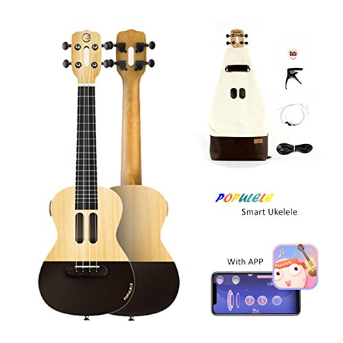 Populele 58,4 cm Smart ukulele, indicatore LED smart InterActive Concert ukulele con Learning app