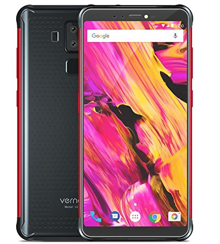 Vernee V2 Pro - FHD da 5,99 pollici (rapporto 18: 9) IP68 Impermeabile / Antiurto Smartphone Android 8.1, Octa Core da 6 GB + 64 GB, 6000 mAh carica rapida della batteria, quattro fotocamera (21 MP + 5 MP + 13 MP + 5 MP), GPS / NFC - Nero rosso