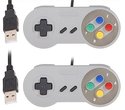 YUMQUA USB SNES Controller USB Gamepad Controller Joystick Wired SNES Joypad con cavo per PC Windows Mac Raspberry Pi [2pcs] -Multicolor