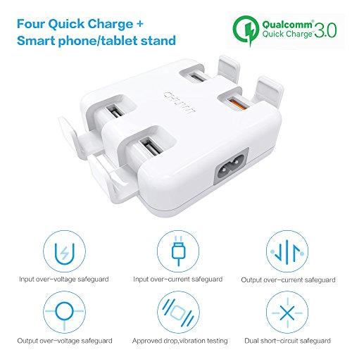 Chuwi W-100 Adattatore per caricabatteria da tavolo Hi-Dock QC 3.0 Quattro caricabatterie veloce per l'uscita USB (bianco)