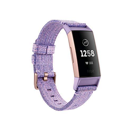 Fitbit Charge 3 Tracker avanzato per fitness e benessere, Tessuto Lavanda / Alluminio Oro Rosa
