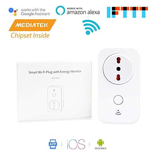 Presa intelligente WiFi italiano con funzione di controllo dei consumi, da 16A e potenza di 3680W. Gestione elettrodomestici da remoto tramite app Android e iOS, compatibile con Alexa, Google Assistant e IFTTT (smart plug modello MSS310HIT, marca Meross)