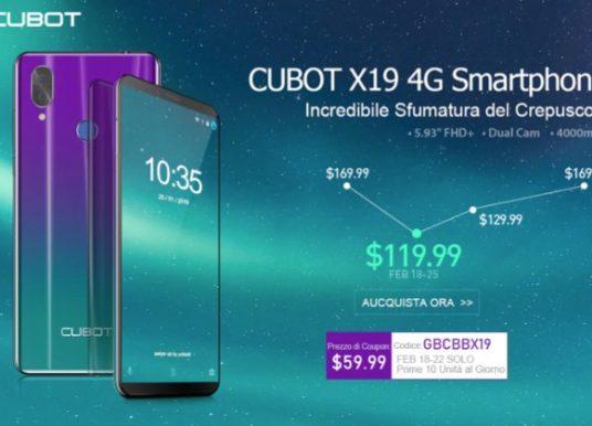CUBOT X19 in promozione a soli 59.99$!