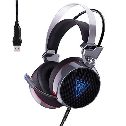 AUKEY Cuffie Gaming Headset Cuffie USB Stereo 7.1 Canale Virtuale, Cuffie da Gioco con Microfono a Cancellazione Rumore, Morbido Cuscino e Volume Controllo per PC, PS4, Xbox One