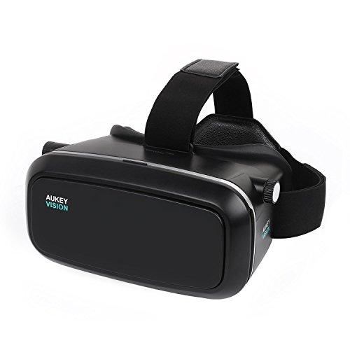 AUKEY VR-O1 Occhiali 3D di Realtà Virtuale, IPD Focale Regolabile, Vista a 360 Gradi per Giochi, Video, Film, Design di Cuffia, Compatibile con iPhone, Huawei, Sumsung, HTC di 3,7-5,5 pollici, Nero