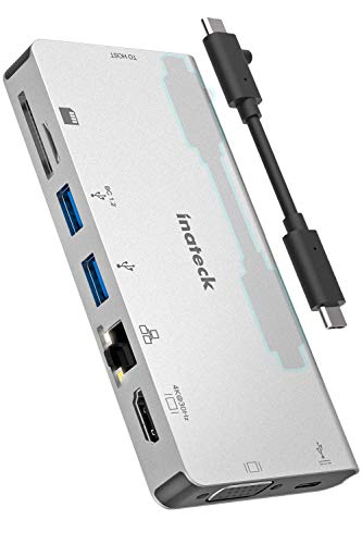 Inateck Hub USB C, 8 in 1 Adattatore, Power Delivery da 100W, HDMI, VGA, RJ45 Ethernet, 2 USB 3.0, lettore schede SD/MicroSD per dispositivi USB C