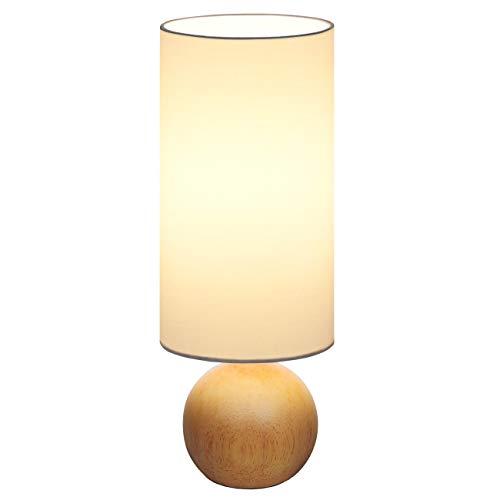 Tomons Lampada da Comodino a LED in Legno Dimmerabile, Lampada da Tavolo Retrò Moderna, Luce Notturna, Luce Ambientale per Camera da Letto o Hotel o Caffè - Bianca