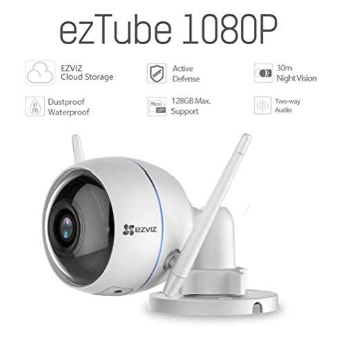 Ezviz CS-CV310 EzTube Telecamera di sorveglianza esterna 1080p, Visione notturna, IP66, WiFi (Cloud, Compatibile con Alexa)