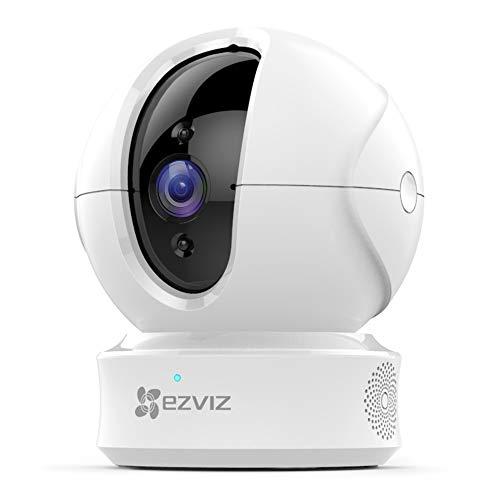 EZVIZ CTQ6C Telecamera WI-FI interno PTZ telecamera di sicurezza da interno 1080p compatibile con Alexa e Google Home, ottima visione notturna, tracciamento del movimento e audio bi-direzionale