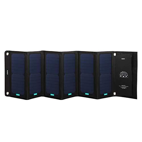 AUKEY Panello Solare 42W, 2 * 5V 2,4A Max Uscite per iPhone7, iPad, Samsung Note7 / Galaxy S7 Edge, ECC. Caricatore Pieghevole per attività all'Aperto Come Campeggio, Escursione, ECC