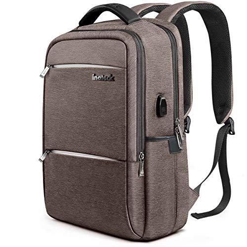 Inateck Zaino per laptop da 15-15,6 pollici anti borseggio anti graffio con presa ricarica USB e anti-spruzzo d'acqua con la cover anti-pioggia,Multiuso Antifurto Zaino Per La Scuola,Business,marrone