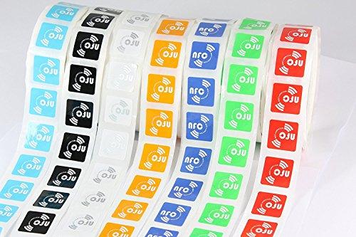 14 x NFC Tags | NXP Chip NTAG213 | 144 byte di memoria | 7 colori | etichette autoadesive quadrate | elevata forza di scansione | design ultra sottile | colla forte.