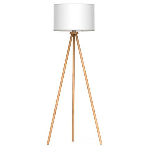Tomons Lampada da pavimento Lampada da Terra Lampada a Stelo in Legno Treppiede con Rimovibile per Soggiorno, Camera, Stile Nordico