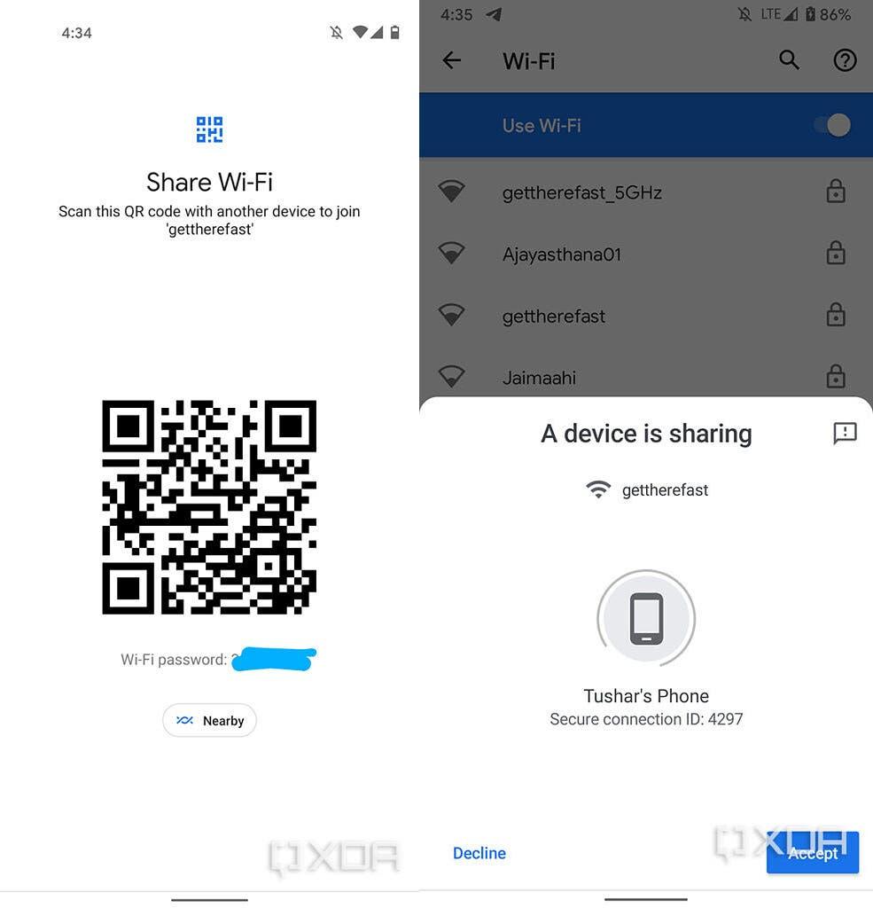 Condivisione Wi-Fi di Android 12